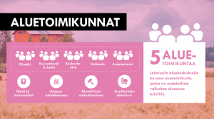 Kuvassa Kouvolan tulevat aluetoimikunnat: Elimäki, Kuusankoski, keskusta, Valkeala ja Anjalankoski.